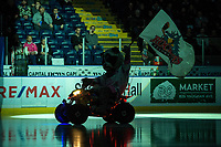KELOWNA, CANADA - NOVEMBER 29: The silhouette of Rocky Raccoon, the mascot of the Kelowna Rockets on November 29, 2017 at Prospera Place in Kelowna, British Columbia, Canada.  (Photo by Marissa Baecker/Shoot the Breeze)  *** Local Caption ***