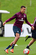 England midfielder Dele Alli runs with the ball during the England Training Session at St George's Park National Football Centre, Burton-Upon-Trent, United Kingdom on 7 October 2015. Photo by Aaron Lupton.