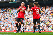 Manchester United Women forward Leah Galton (11) reacts during the FA Women's Super League match between Manchester City Women and Manchester United Women at the Sport City Academy Stadium, Manchester, United Kingdom on 7 September 2019.