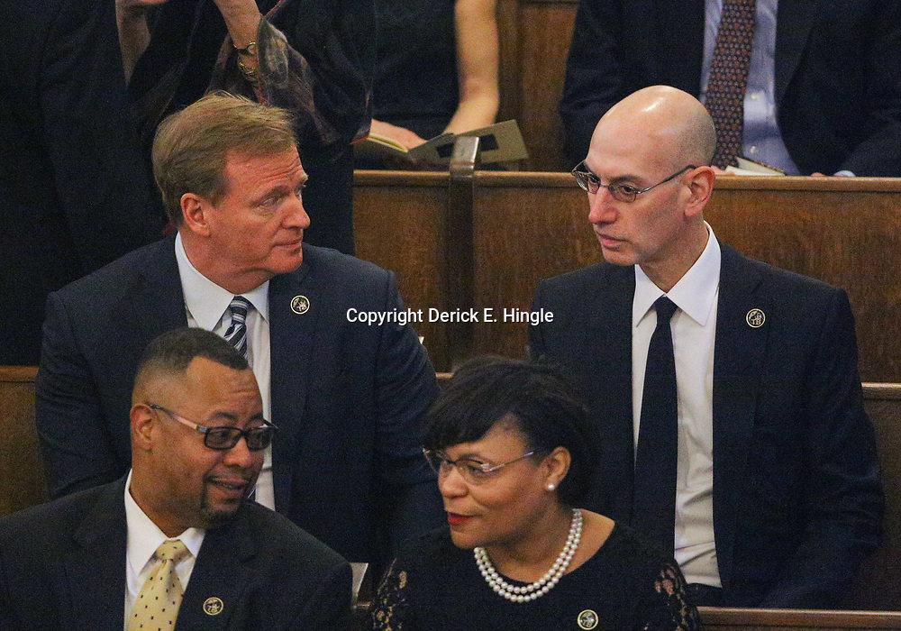 NFL Commissioner Roger Goodell and NBA Commissioner Adam Silver in attendance at the funeral service for NFL New Orleans Saints owner and NBA New Orleans Pelicans owner Tom Benson in New Orleans, Friday, March 23, 2018. Benson died last Thursday at the age of 90. (AP Photo/Derick Hingle)