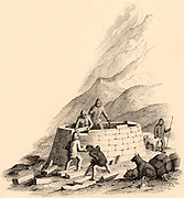 Members of the Kennedy expedition in the Arctic building an igloo, a dwelling of ice blocks.  William Kennedy (1814-1890) Canadian fur trader, was commissioned by Lady Franklin to search for her husband, Sir John Franklin, and his expedition who had disappeared while searching for the North West Passage. Engraving of 1881 based on an illustration in Kennedy's 'Narrative of the Second Voyage of the in Search of Sir John Franklin', 1853.
