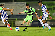 Forest Green Rovers Tom Anderson passes the ball during the Gloucestershire Senior Cup match between Forest Green Rovers and Cheltenham Town at the New Lawn, Forest Green, United Kingdom on 20 September 2016. Photo by Shane Healey.