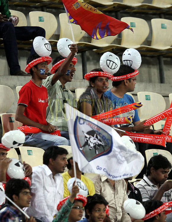 DC-RCB supporeters during match 11 of the Indian Premier League ( IPL ) between the Deccan Chargers and the Royal Challengers Bangalore held at the Rajiv Gandhi International Cricket Stadium in Hyderabad on the 14th April 2011..Photo by Prashant Bhoot/BCCI/SPORTZPICS.