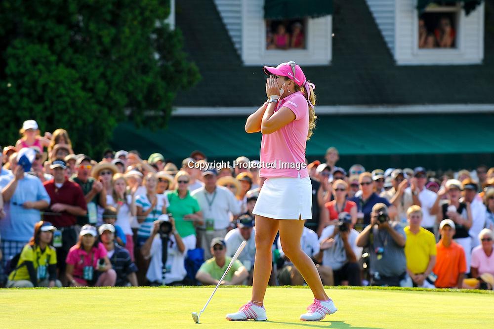 Paula Creamer celebrates her victory in the Women's U.S. Open Golf Championship in Oakmont, Pennsylvania.