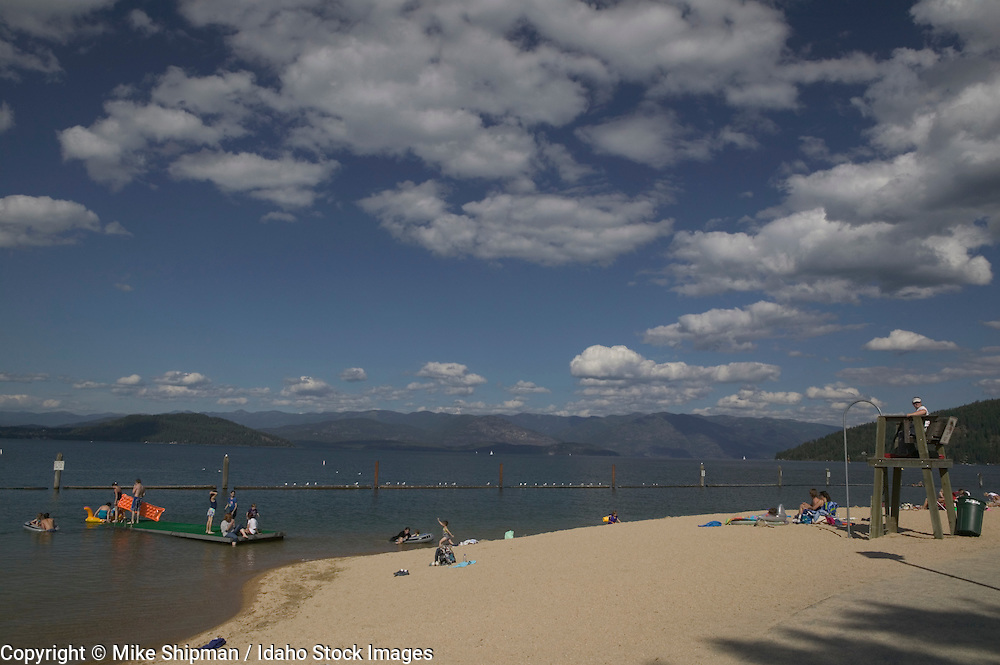 Idaho, Bonner County, Sandpoint, Lake Pend Oreille, City Beach, swimmers and lifeguard station