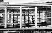 Sky bridge crossing E Fifth St next to the Spectrum Center Arena in Uptown Charlotte, North Carolina