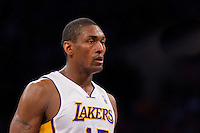 18 November 2012: Forward (15) Meta World Peace of the Los Angeles Lakers against the Houston Rockets during the second half of the Lakers 119-108 victory over the Rockets at the STAPLES Center in Los Angeles, CA.