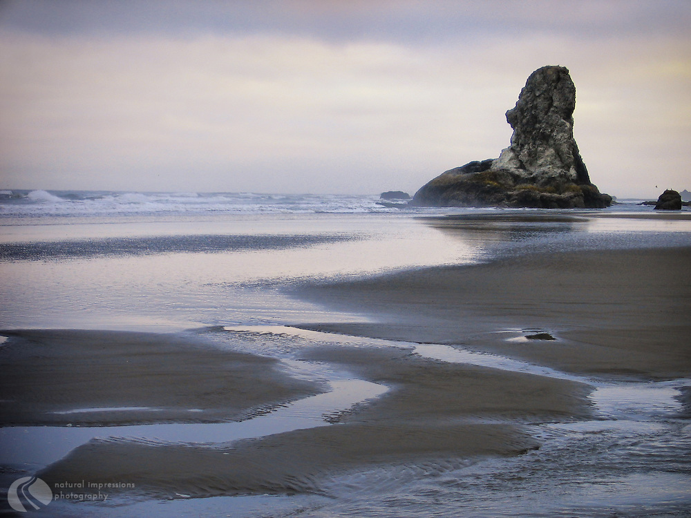 Rock spires on the shoreline near Bandon Oregon are silent sentinals for this quaint coastal town.