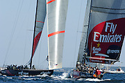Alinghi, SUI75 and Emirates Team New Zealand, NZL82 meet in the start box for the final match of Louis Vuitton Act 6. Malmo, Sweden. 30/8/2005
