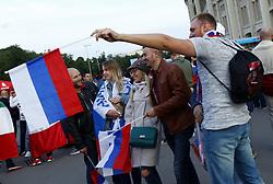 June 14, 2018 - Moscow, Russia - Group A Russia v Saudi Arabia - FIFA World Cup Russia 2018.Russian fans celebrate after the match at Luzhniki Stadium in Moscow, Russia on June 14, 2018. (Credit Image: © Matteo Ciambelli/NurPhoto via ZUMA Press)