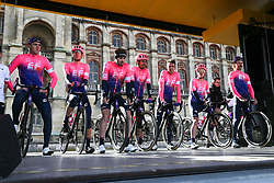 March 10, 2019 - Paris, Ile-de-France, France - EF Eduction First cycling team waits for the team's presentation at the start of the 138,5km 1st stage of the 77th Paris-Nice cycling race between Saint-Germain-en-Laye and Saint-Germain-en-Laye in the west suburb of Paris, France, on March 10, 2019. Whether leaders of a team or merely a team-mate, the riders on the Paris-Nice try to excel, either individually or as a team. According to the stage profiles, changes in the general standings or some unexpected circumstance during the race, each rider adapts his objectives to the situation. (Credit Image: © Michel Stoupak/NurPhoto via ZUMA Press)
