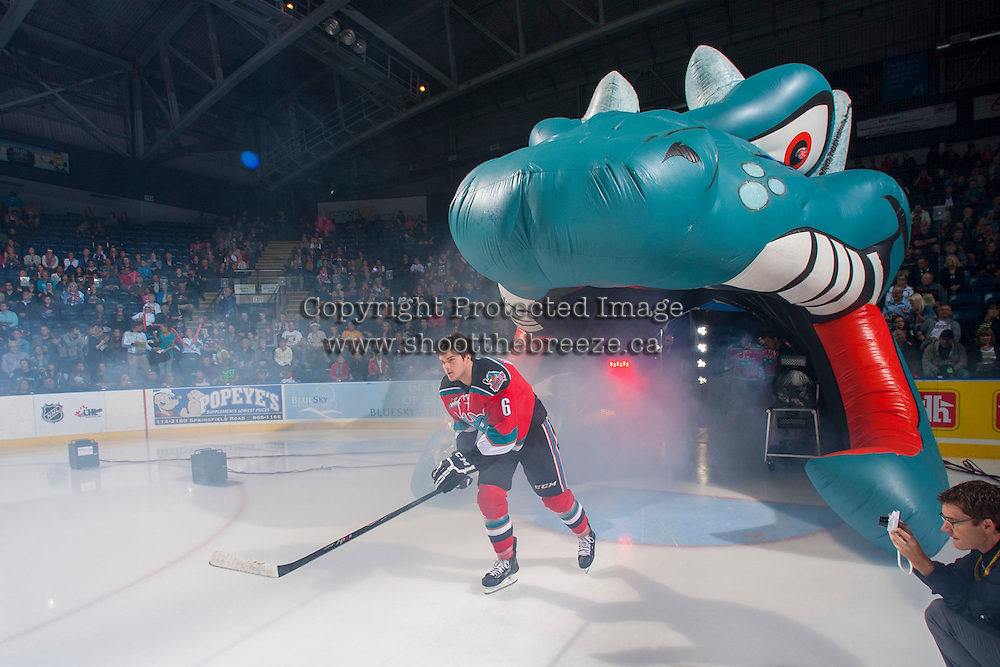 KELOWNA, CANADA - SEPTEMBER 21:  Mitchell Wheaton #6 of the Kelowna Rockets enters the ice during the regular season home opener against the Kamloops Blazers at the Kelowna Rockets on September 21, 2013 at Prospera Place in Kelowna, British Columbia, Canada (Photo by Marissa Baecker/Shoot the Breeze) *** Local Caption ***