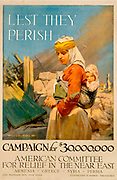 Lest They Perish': World War I poster issued in 1917 by the American Committee for Relief in the Near East asking  for $30,000,000 to aid Armenia, Greece, Syria and Persia.  Woman Child Ruins