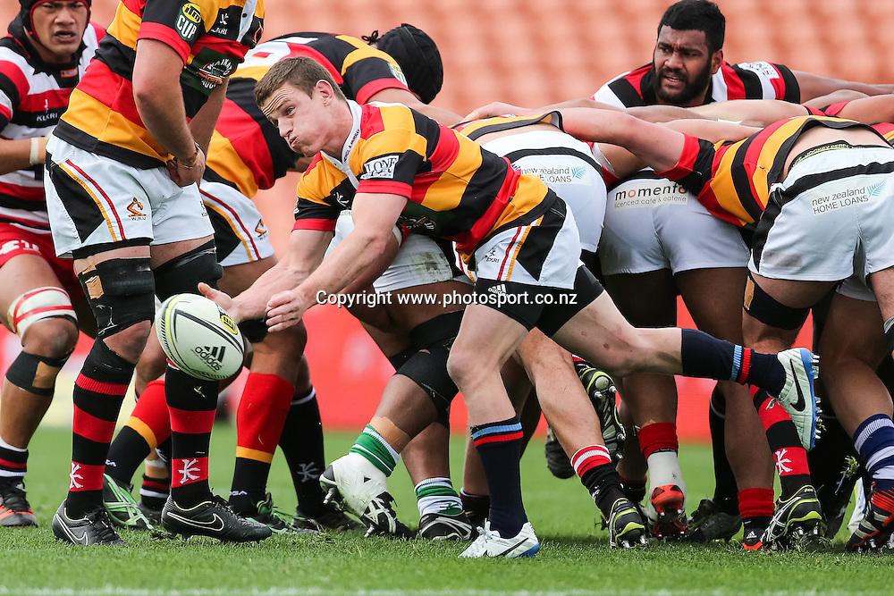 Waikato captain Brad Weber passes during the ITM Cup rugby match - Waikato v Counties Manukau at Waikato Stadium, Hamilton on Sunday 14 September 2014.  Photo: Bruce Lim / www.photosport.co.nz