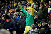 A Norwich City fan during the The FA Cup 3rd round match between Norwich City and Portsmouth at Carrow Road, Norwich, England on 5 January 2019.