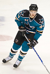 January 6, 2010; San Jose, CA, USA; San Jose Sharks defenseman Marc-Edouard Vlasic (44) during the second period against the St. Louis Blues at HP Pavilion. San Jose defeated St. Louis 2-1 in overtime. Mandatory Credit: Jason O. Watson / US PRESSWIRE