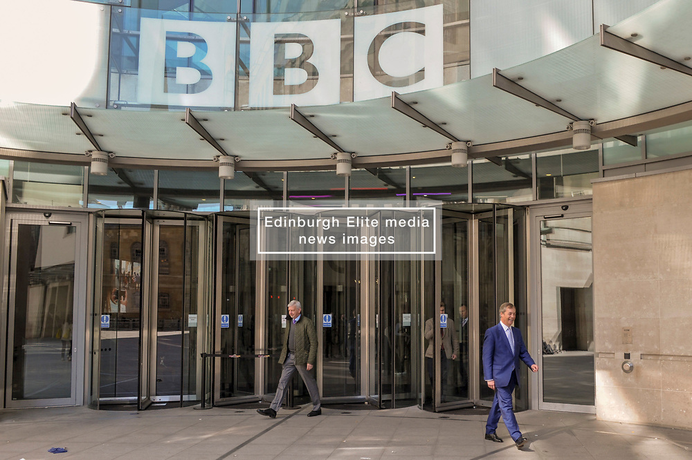 Nigel Farage leader of the Brexit Party Leaving the BBC in London after appearing on the Andrew Marr show. <br /> <br /> Richard Hancox | EEm 12052019