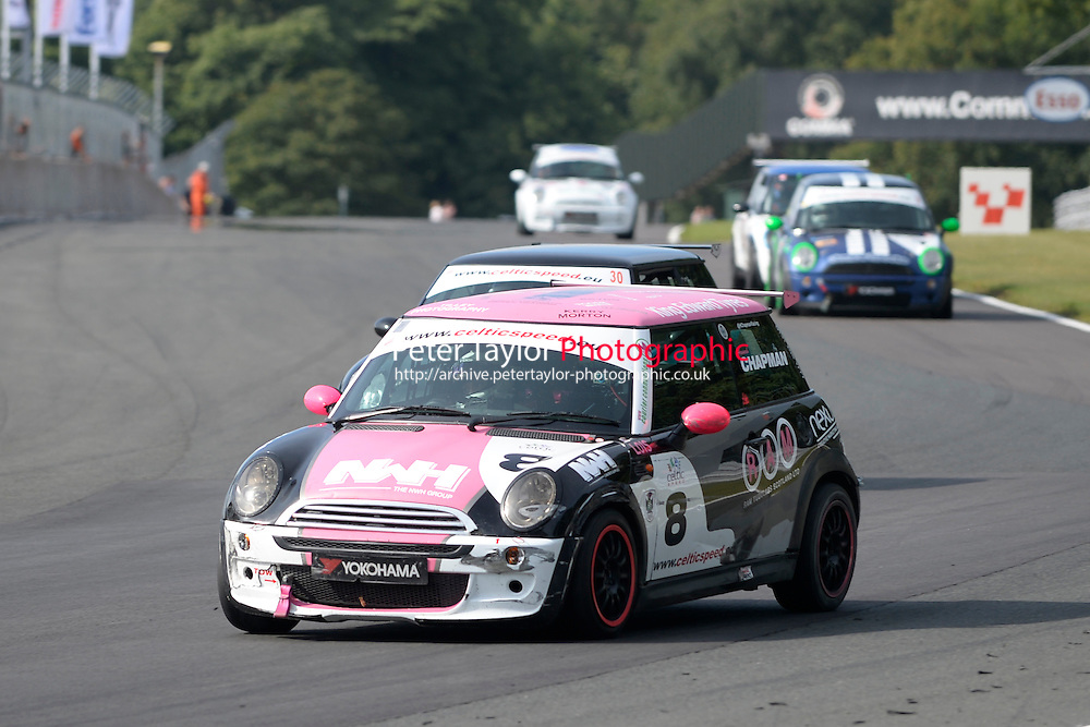 #8 Hannah Chapman Mini Cooper during Celtic Speed Scottish Mini Cooper Cup Race 2 as part of the Mini Festival  at Oulton Park, Little Budworth, Cheshire, United Kingdom. August 08 2015. World Copyright Peter Taylor. Copy of publication required for printed pictures.  Every used picture is fee-liable. http://archive.petertaylor-photographic.co.uk