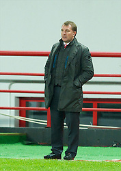 MOSCOW, RUSSIA - Thursday, November 8, 2012: Liverpool's manager Brendan Rodgers during the UEFA Europa League Group A match against FC Anji Makhachkala at the Lokomotiv Stadium. (Pic by David Rawcliffe/Propaganda)