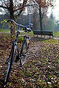 Bicycle in the Vondelpark, Amsterdam. The Vondelpark is a large, popular city park in Central Amsterdam