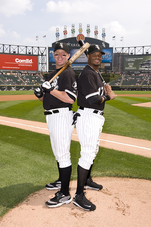 CHICAGO - AUGUST 23:  Jim Thome #25 and Ken Griffey Jr. #17 of the Chicago White Sox pose together for a portrait prior to the game against the Tampa Bay Rays at U.S. Cellular Field in Chicago, Illinois on August 23, 2008.  With 1152 home runs hit between the them in the major leagues, it was a rare opportunity to photograph two players on the same team with that many home runs between them.  (Photo by Ron Vesely)
