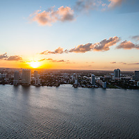 Aerial view of Miami at twilight featuring the Edgwater neighborhood north of downtown Miami on Biscayne Bay.