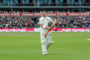 Wicket - Rory Burns of England looks dejected as he walks back to the pavilion after being dismissed by Josh Hazlewood of Australia during the International Test Match 2019, fourth test, day three match between England and Australia at Old Trafford, Manchester, England on 6 September 2019.