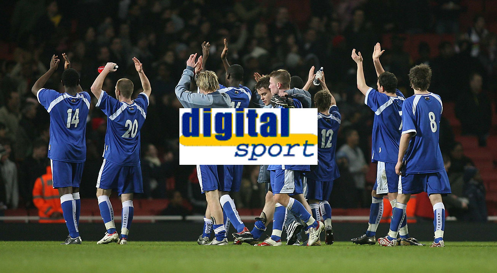 Photo: Marc Atkins.<br /> Arsenal v Cardiff City. FA Youth Cup. 19/02/2007. Cardiff City Players applaud the fans after being knocked out of the FA Youth Cup by Arsenal.