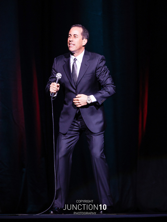 Jerry Seinfeld on stage during his first UK show outside of London, at the NIA - Birmingham, United Kingdom<br /> Picture Date: 11 May, 2012