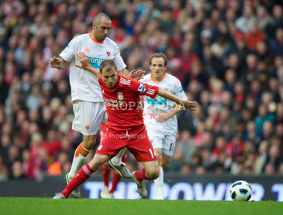 LIVERPOOL, ENGLAND - Sunday, October 3, 2010: Liverpool's Milan Jovanovic in action against Blackpool during the Premiership match at Anfield. (Photo by David Rawcliffe/Propaganda)
