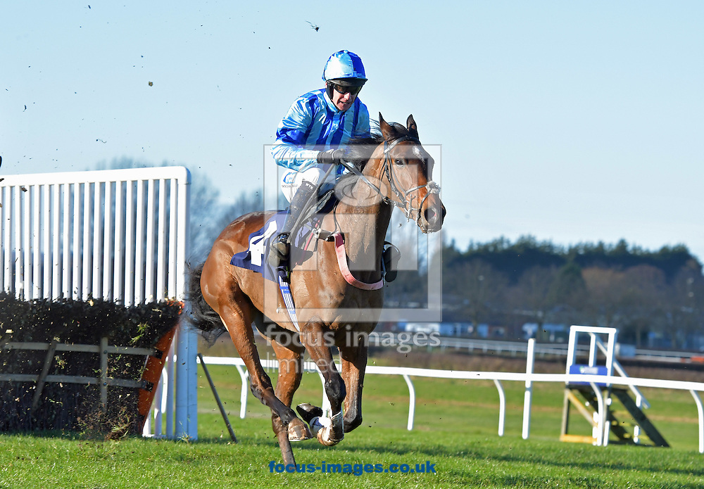 Eaton Hill ridden by Will Kenedy wins Racing UK EBF National Hunt Novice Hurdle during the Christmas Jumper Saturday  meeting at Wetherby Racecourse, Yorkshire.<br /> Picture by Martin Lynch/Focus Images Ltd 07501333150<br /> 14/01/2017