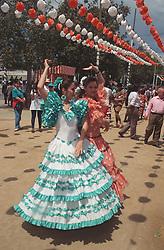 Flamenco dancing at Spring Fair; Seville,