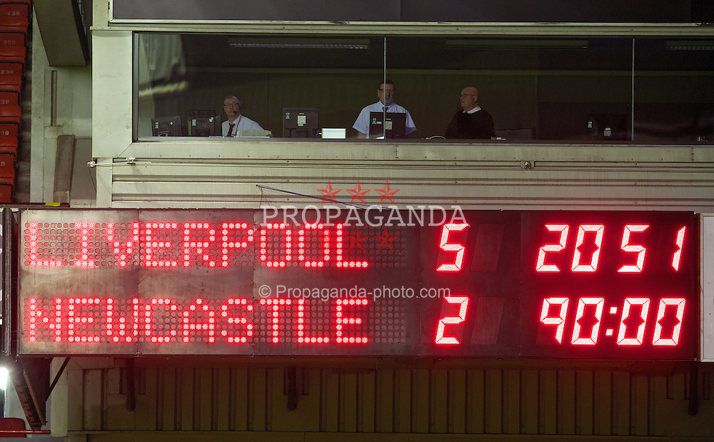 LIVERPOOL, ENGLAND - Friday, March 21, 2014: Liverpool's scoreboard records their 5-2 victory over Newcastle United during the Under 21 FA Premier League match at Anfield. (Pic by David Rawcliffe/Propaganda)