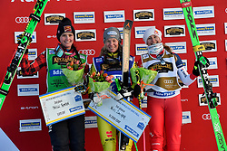 19.01.2019, Idre Fjall, Idre, SWE, FIS Weltcup Ski Cross, Siegerehrung, im Bild Thompson Marielle CAN Zacher Heidi GER, Smith Fanny // during the winner Ceremony of the FIS Ski Cross World Cup at the Idre Fjall in Idre, Sweden on 2019/01/19. EXPA Pictures © 2019, PhotoCredit: EXPA/ Nisse Schmidt<br /> <br /> *****ATTENTION - OUT of SWE*****