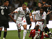 Lyon's Karim Benzema celebrates his goal with his teammate Jean II Makoun during the match Lyon vs Grenoble at 'Gerland' Stadium in Lyon, France on August 23, 2008. Lyon won 2-0. Photo by Vincent Dargent/Cameleon/ABACAPRESS.COM