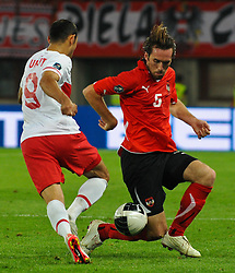 06.09.2011, Ernst Happel Stadion, Wien, AUT, UEFA EURO 2012, Qualifikation, Oesterreich (AUT) vs Tuerkei (TUR), im Bild Zweikampf zwischen Umut Bulut, (TUR, #9) und Christian Fuchs, (AUT, #5) // during the UEFA Euro 2012 Qualifier Game, Austria vs Turkey, at Ernst Happel Stadium, Vienna, 2011-09-06, EXPA Pictures © 2011, PhotoCredit: EXPA/ M. Gruber