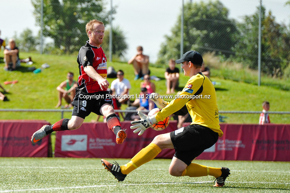 Michael White of Canterbury United has a shot on goal with Tom Batty of Southern United during the ASB Premiership Football match, Canterbury V Southern United, at English Park, Christchurch. 28th Febuary 2016. Copyright Photo: John Davidson / www.photosport.nz