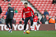 Middlesbrough midfielder Marcus Tavernier (28) warming up during the EFL Sky Bet Championship match between Middlesbrough and Ipswich Town at the Riverside Stadium, Middlesbrough, England on 29 December 2018.