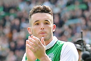 John McGinn applauds fans after 5-5 draw in the Ladbrokes Scottish Premiership match between Hibernian and Rangers at Easter Road, Edinburgh, Scotland on 13 May 2018. Picture by Kevin Murray.