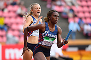 Eleane Marcelin and Marine Mignon (FRA) compete in 4X100 Metres Relay Women during the IAAF World U20 Championships 2018 at Tampere in Finland, Day 4, on July 13, 2018 - Photo Julien Crosnier / KMSP / ProSportsImages / DPPI