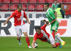 24.08.2013, Coface Arena, Mainz, GER, 1. FBL, 1. FSV Mainz 05 vs VfL Wolfsburg, 3. Runde, im Bild links: Pospech, Zdenek (3)/ FSV Mainz 05, mitte: Baumgartlinger, Julian (14)/ FSV Mainz 05, rechts: Perisic, Ivan (9) / VFL Wolfsburg, // during the German Bundesliga 3rd round match between 1. FSV Mainz 05 and VfL Wolfsburg at the Coface Arena, Mainz, Germany on 2013/08/24. EXPA Pictures © 2013, PhotoCredit: EXPA/ Eibner/ Kellner<br /> <br /> ***** ATTENTION - OUT OF GER *****