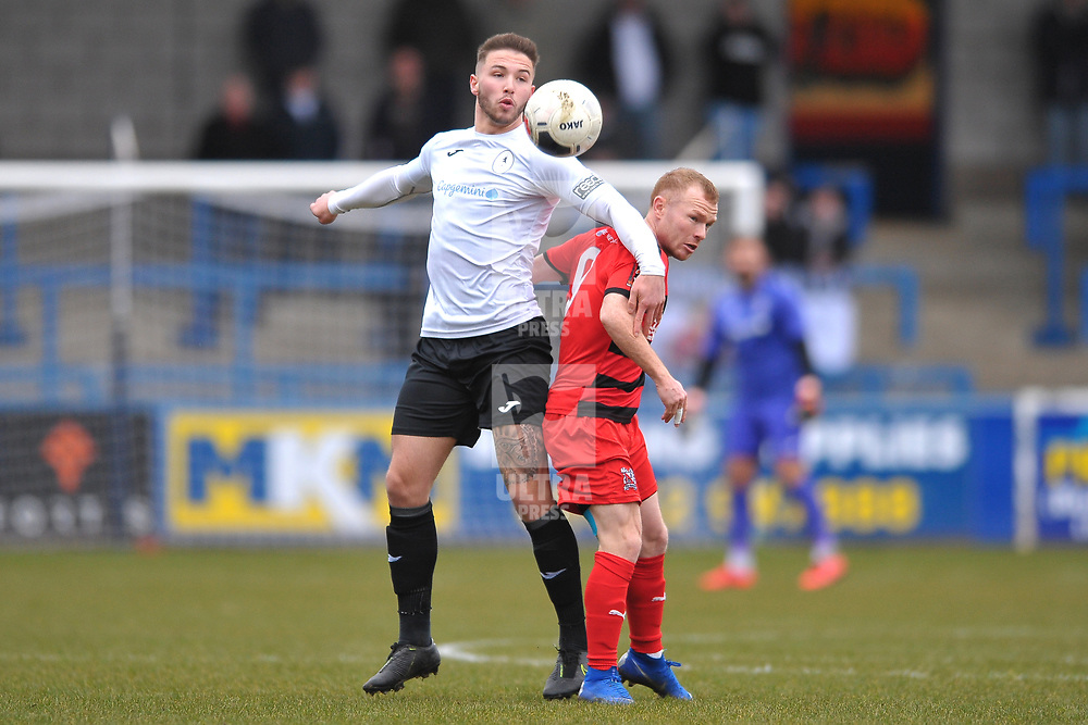 TELFORD COPYRIGHT MIKE SHERIDAN  Zak Lilly of Telford battles for the ball with Adam Campbell during the Vanarama Conference North fixture between AFC Telford United and Darlington at The New Bucks Head on Saturday, March 7, 2020.<br /> <br /> Picture credit: Mike Sheridan/Ultrapress<br /> <br /> MS201920-049