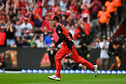 17th February 2019, Marvel Stadium, Melbourne, Australia; Australian Big Bash Cricket League Final, Melbourne Renegades versus Melbourne Stars; Mackenzie Harvey of the Melbourne Renegades celebrates taking a catch in the dying moments of the game