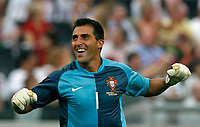 Photo: Glyn Thomas.<br />Portugal v Iran. Group D, FIFA World Cup 2006. 17/06/2006.<br /> Portugal's goalkeeper Ricardo celebrates his side's second goal, scored by Cristiano Ronaldo.