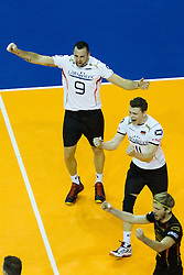 09.01.2016, Max Schmeling Halle, Berlin, GER, CEV Olympia Qualifikation, Deutschland vs Russland, im Bild Gyorgy Georg Grozer (#9, GER) und Lukas Immanuel Kampa (#11, GER) // during 2016 CEV Volleyball European Olympic Qualification Match between Germany and Russia at the Max Schmeling Halle in Berlin, Germany on 2016/01/09. EXPA Pictures © 2016, PhotoCredit: EXPA/ Eibner-Pressefoto/ Wuechner<br /> <br /> *****ATTENTION - OUT of GER*****