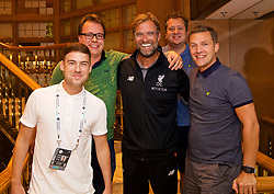 NEW JERSEY, USA - Wednesday, July 25, 2018: Liverpool's manager Jürgen Klopp with the Anfield Wrap podcast team Craig Hannan, Neil Atkinson, John Gibbons and Gareth Roberts at the team's Hilton Short Hills Hotel ahead of the International Champions Cup match between Manchester City FC and Liverpool FC at the Met Life Stadium. (Pic by David Rawcliffe/Propaganda)