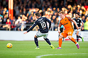 Dundee United midfielder Fraser Fyvie (#23) passes the ball around Dundee midfielder Scott Allan (#10) during the Betfred Scottish Cup match between Dundee and Dundee United at Dens Park, Dundee, Scotland on 9 August 2017. Photo by Craig Doyle.