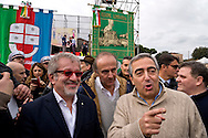 Rome, Italy. 30 January 2016<br /> Pictured: Roberto Maroni President of Lombardy, Andrea Ronchi former Italian Minister of Community Policy, Maurizio Gasparri president of the parliamentary group of the People of Freedom to the Senate, vice president of the Senate.<br /> Thousands of demonstrators take part in the Family Day rally at the Circo Massimo in central Rome  in support of traditional family and to protest against a bill to recognize civil unions, including same-sex ones currently under examination at the Italian Parliament.