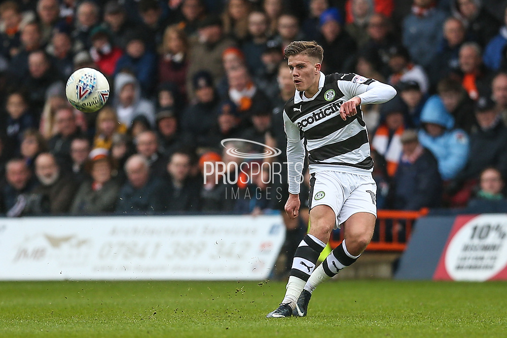Forest Green Rovers Charlie Cooper(15) passes the ball during the EFL Sky Bet League 2 match between Luton Town and Forest Green Rovers at Kenilworth Road, Luton, England on 28 April 2018. Picture by Shane Healey.