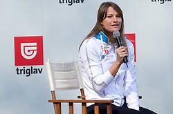 Sara Isakovic, Slovenian swimmer  when her sponsor Zavarovalnica Triglav d.d. decided to rebuild children playground, on March 22, 2012, in Notranje Gorice, Slovenia. (Photo by Vid Ponikvar / Sportida.com)